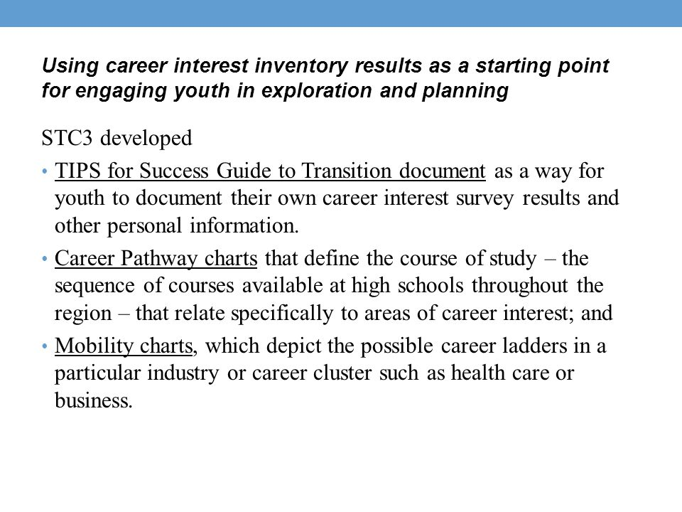Using career interest inventory results as a starting point for engaging youth in exploration and planning