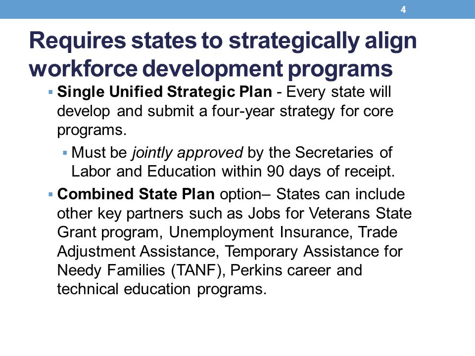 Requires states to strategically align workforce development programs