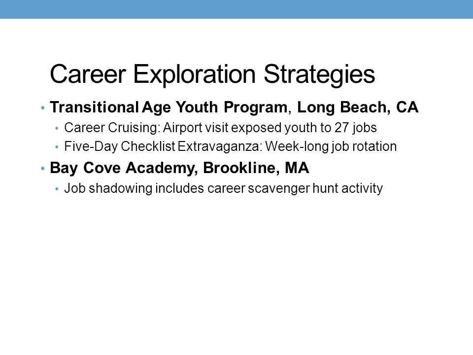 Career Exploration Strategies