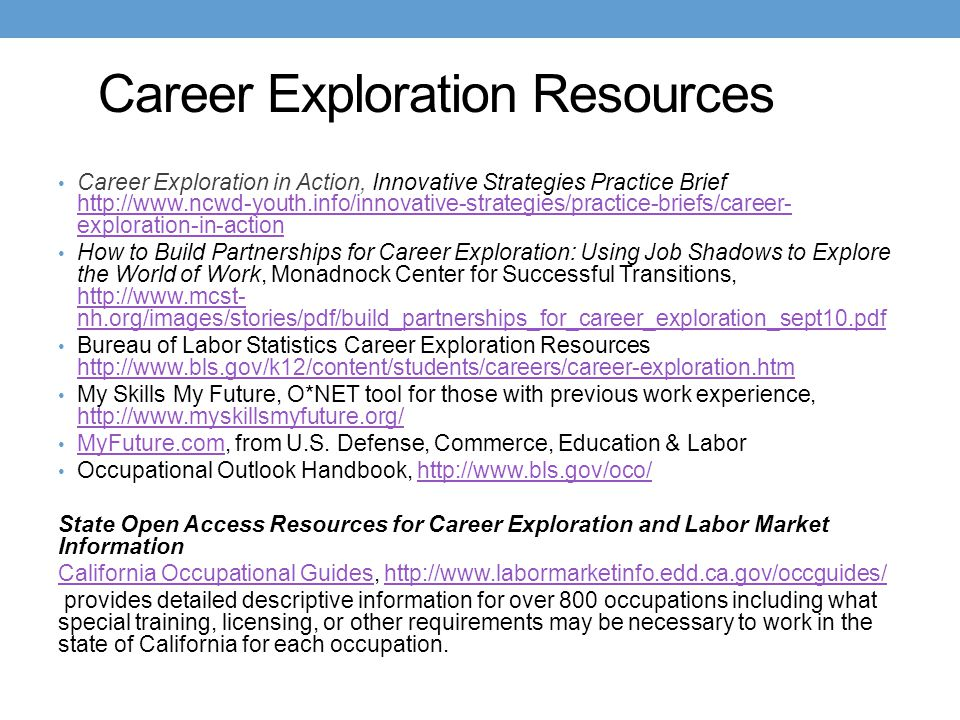 Career Exploration Resources