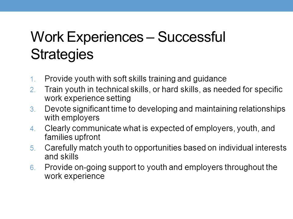 Work Experiences – Successful Strategies
