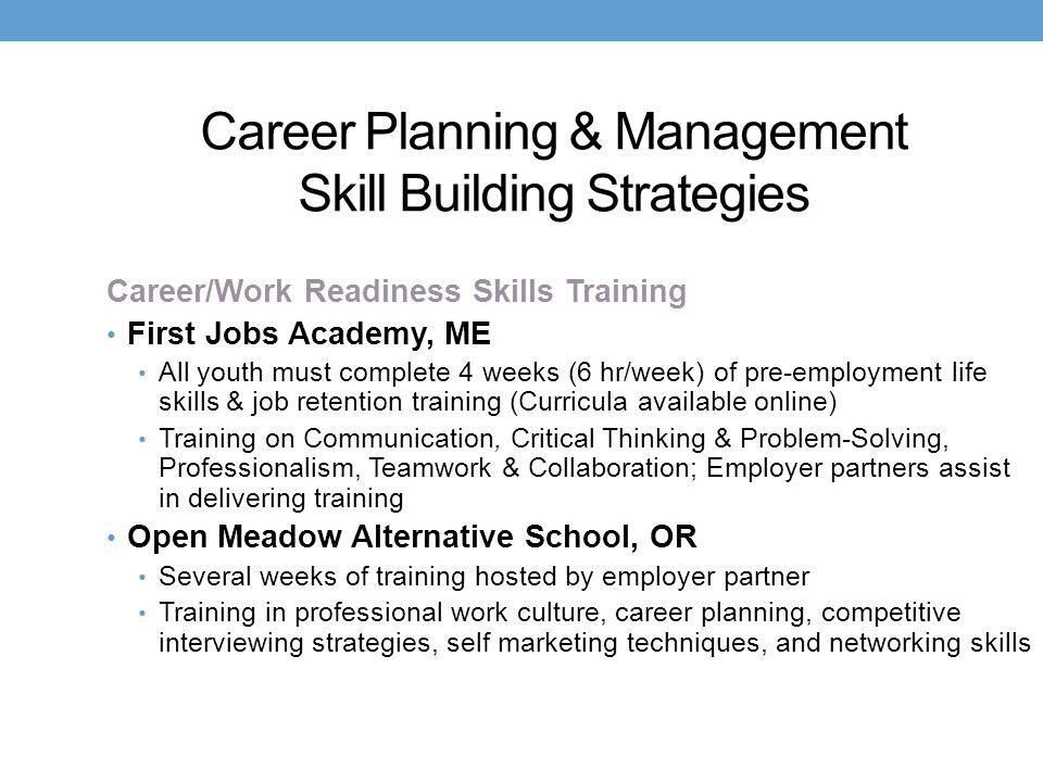 Career Planning & Management Skill Building Strategies