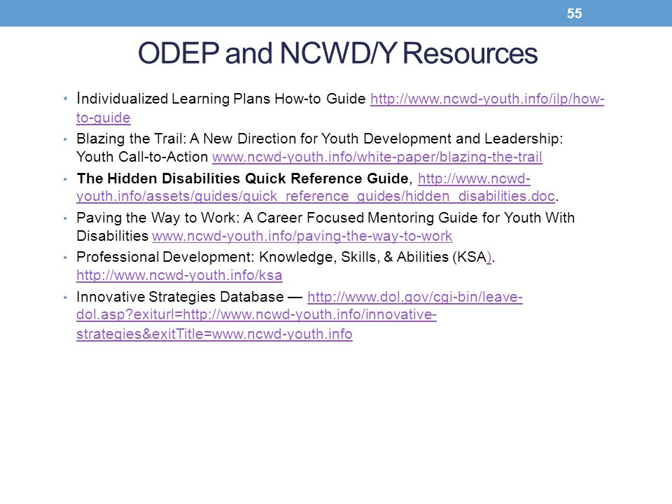ODEP and NCWD/Y Resources