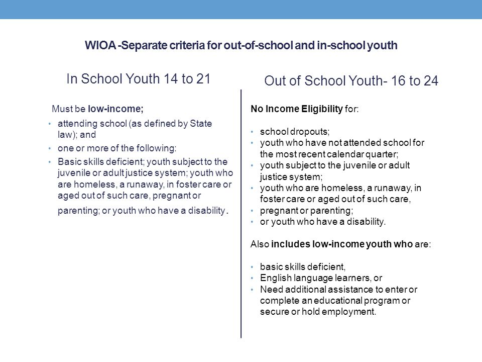 WIOA -Separate criteria for out-of-school and in-school youth