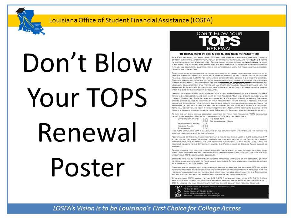 Don't Blow Your TOPS Renewal Poster