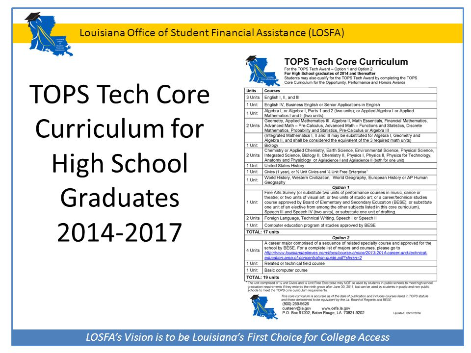 TOPS Tech Core Curriculum for High School Graduates 2014-2017