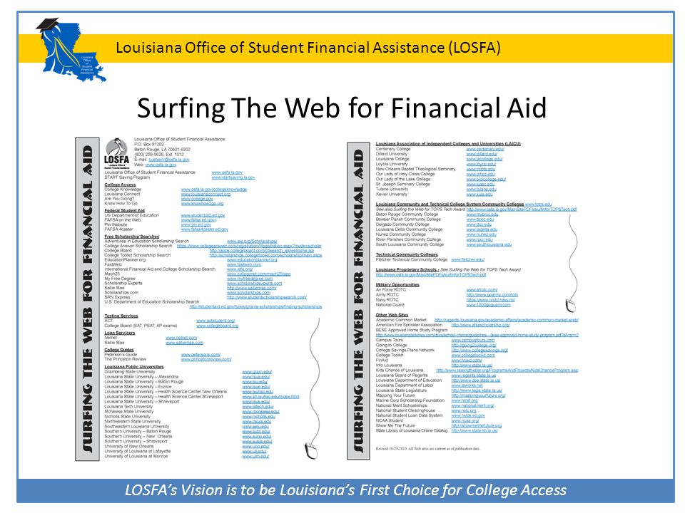 Surfing The Web for Financial Aid