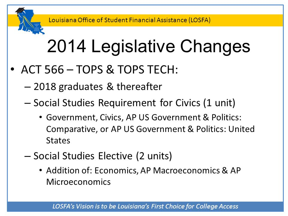 2014 Legislative Changes ACT 566 – TOPS & TOPS TECH: