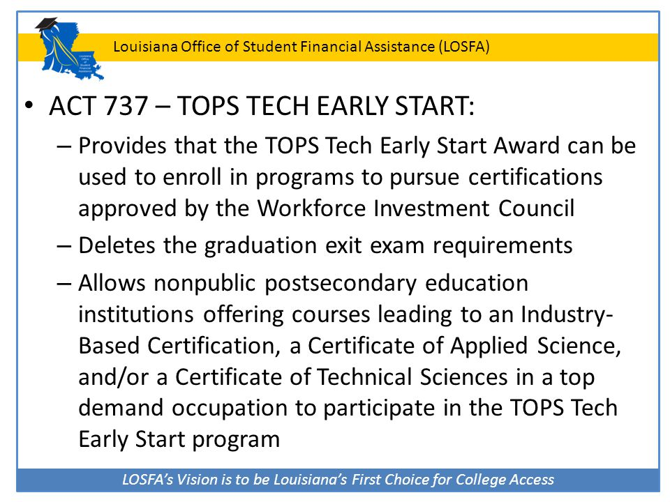 ACT 737 – TOPS TECH EARLY START: