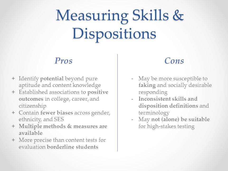 Measuring Skills & Dispositions