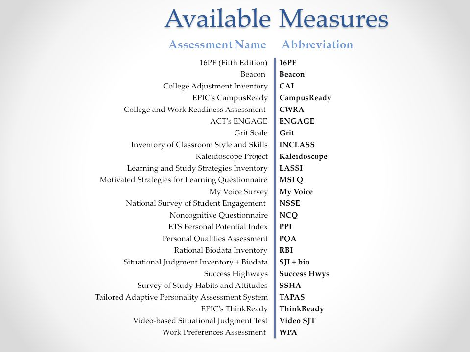Available Measures Assessment Name Abbreviation