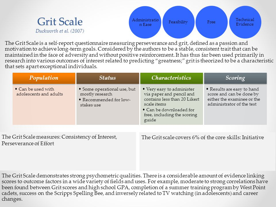 Grit Scale Duckworth et al. (2007)