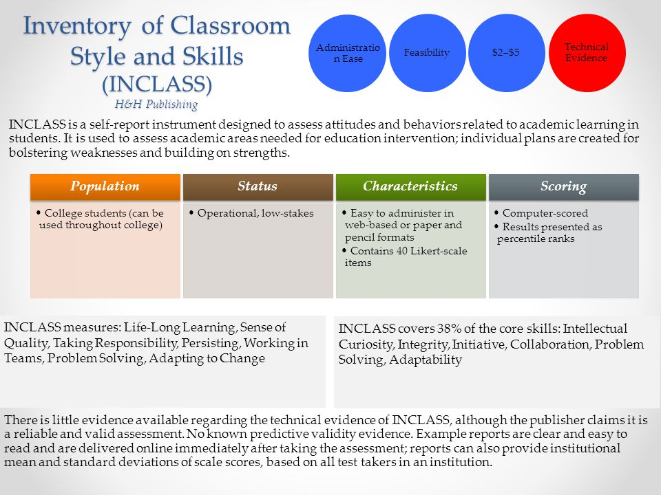 Inventory of Classroom Style and Skills (INCLASS) H&H Publishing