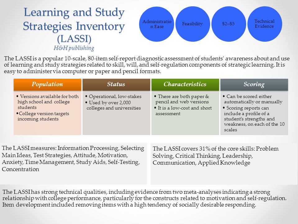 Learning and Study Strategies Inventory (LASSI) H&H publishing