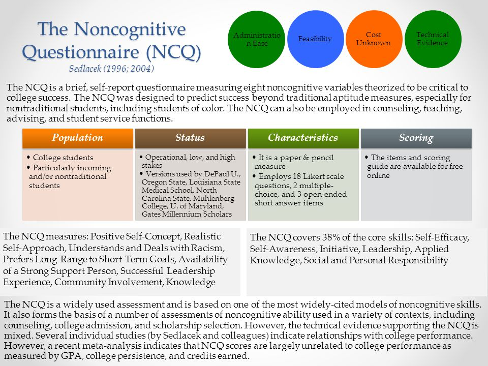 The Noncognitive Questionnaire (NCQ) Sedlacek (1996; 2004)