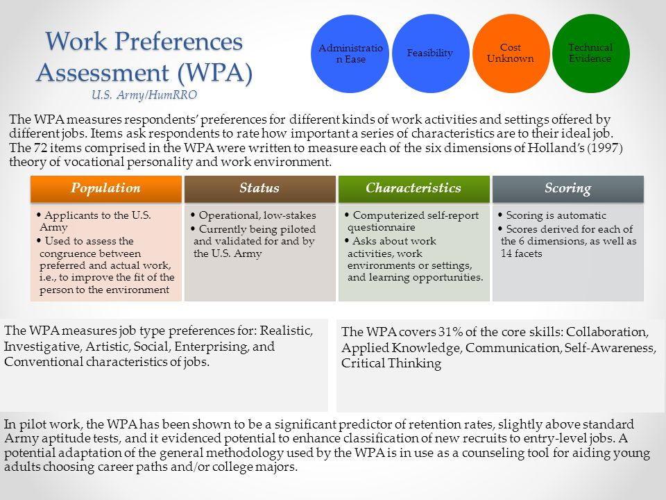 Work Preferences Assessment (WPA) U.S. Army/HumRRO
