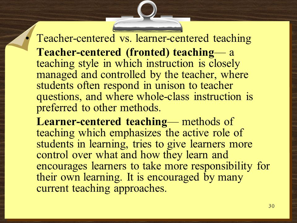 Teacher-centered vs. learner-centered teaching
