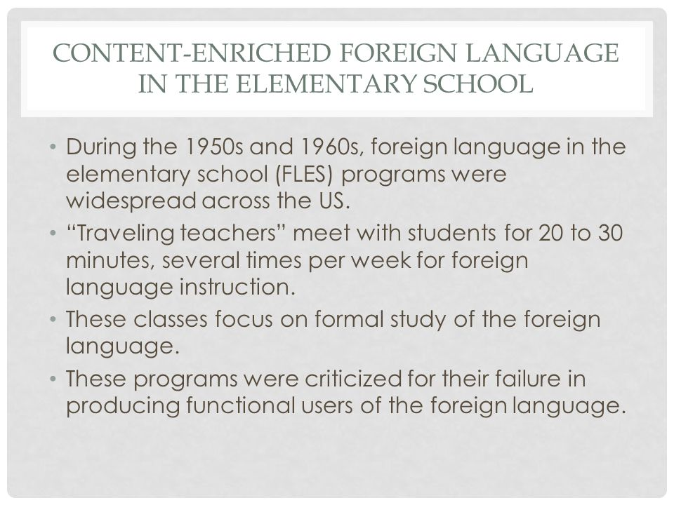 Content-Enriched Foreign language in the Elementary School