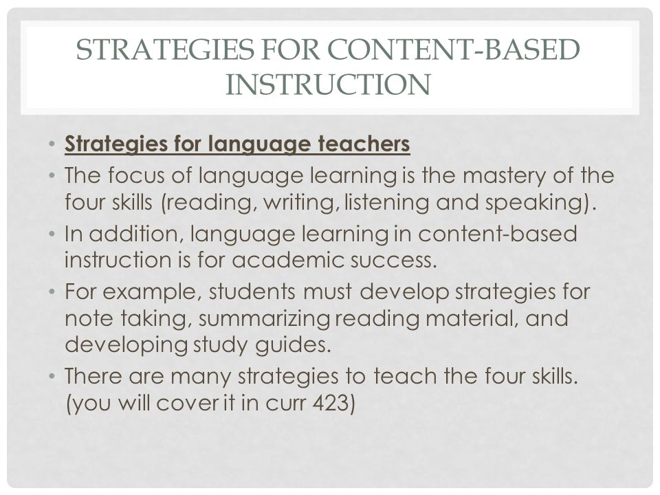 Strategies for content-based instruction