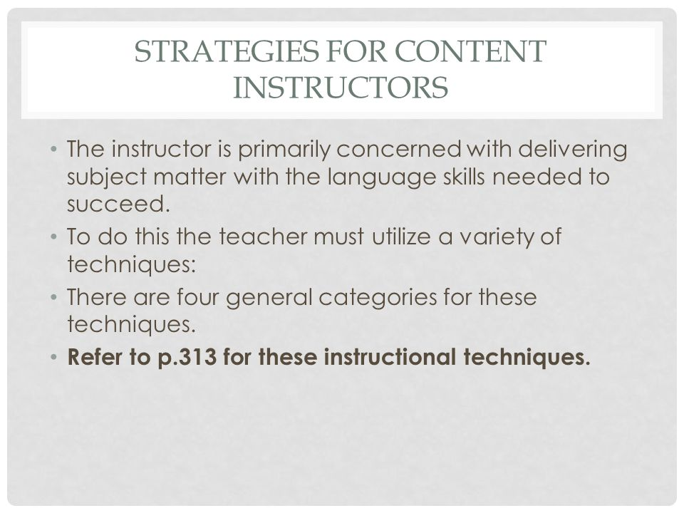 Strategies for content instructors