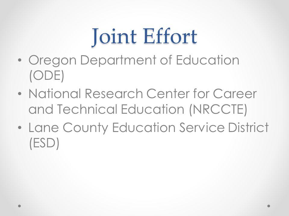 Joint Effort Oregon Department of Education (ODE)