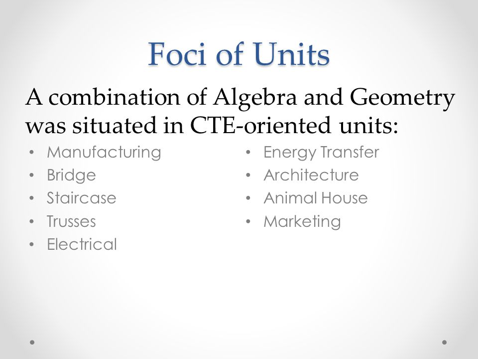 Foci of Units A combination of Algebra and Geometry was situated in CTE-oriented units: Manufacturing.
