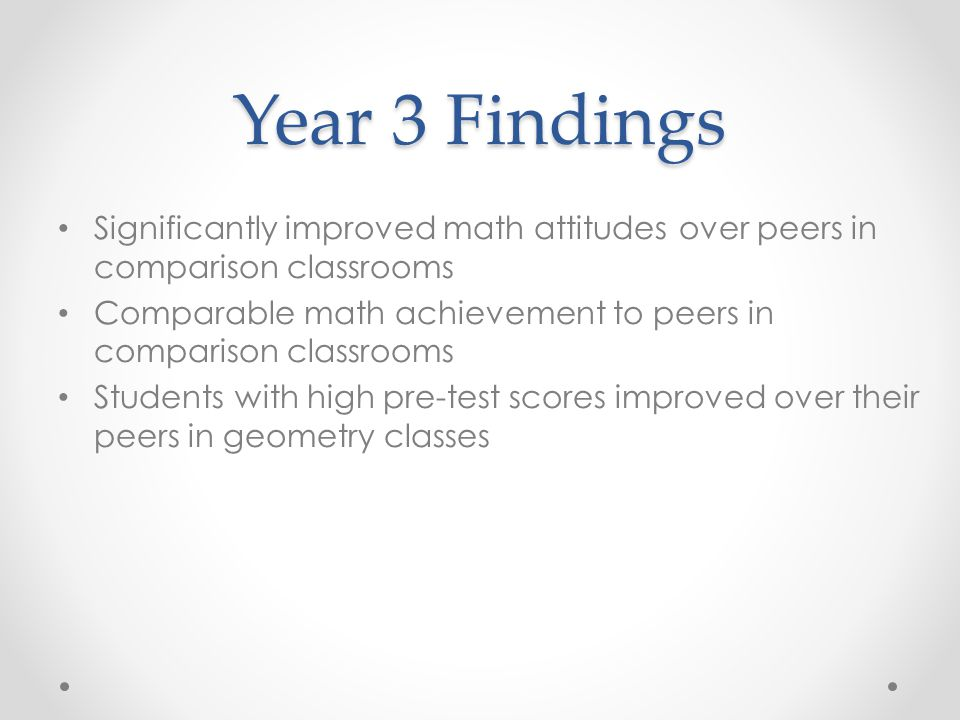Year 3 Findings Significantly improved math attitudes over peers in comparison classrooms.