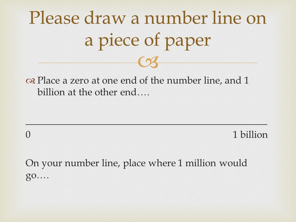 Please draw a number line on a piece of paper
