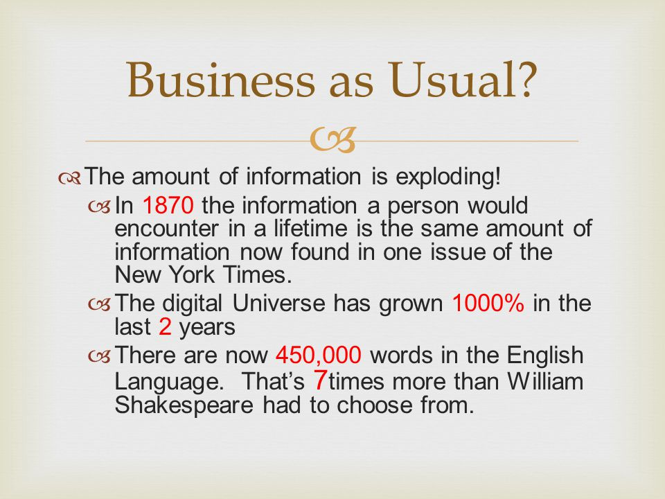 Business as Usual The amount of information is exploding!