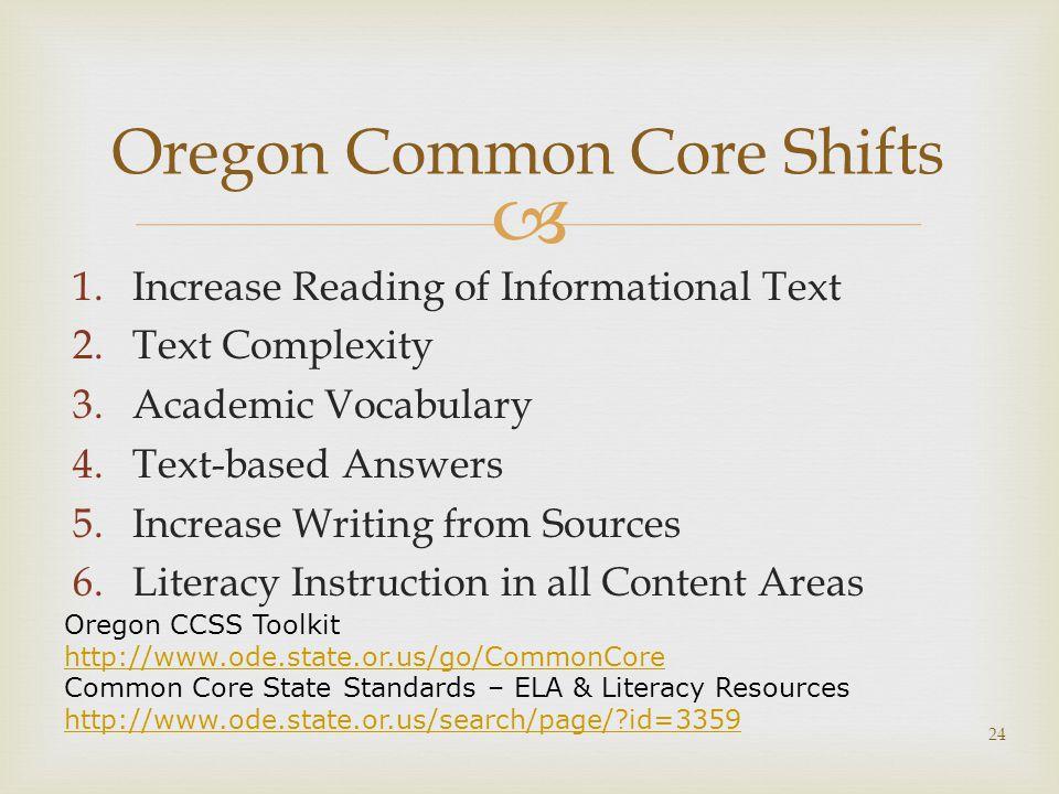 Oregon Common Core Shifts