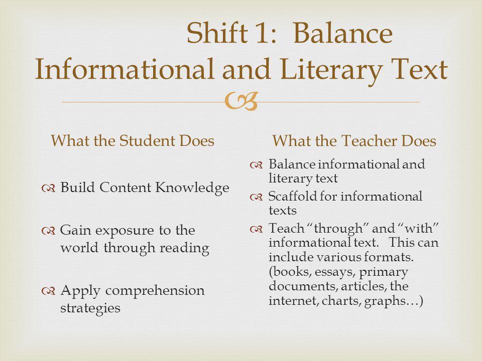 Shift 1: Balance Informational and Literary Text