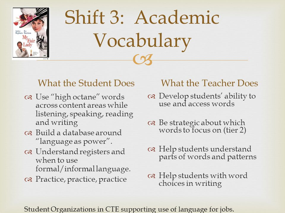 Shift 3: Academic Vocabulary