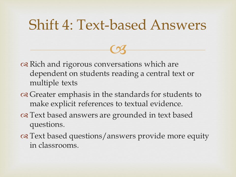 Shift 4: Text-based Answers