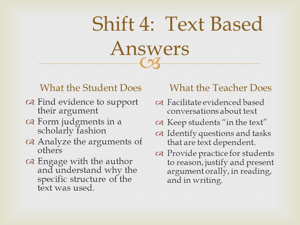 Shift 4: Text Based Answers
