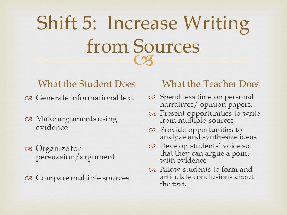 Shift 5: Increase Writing from Sources