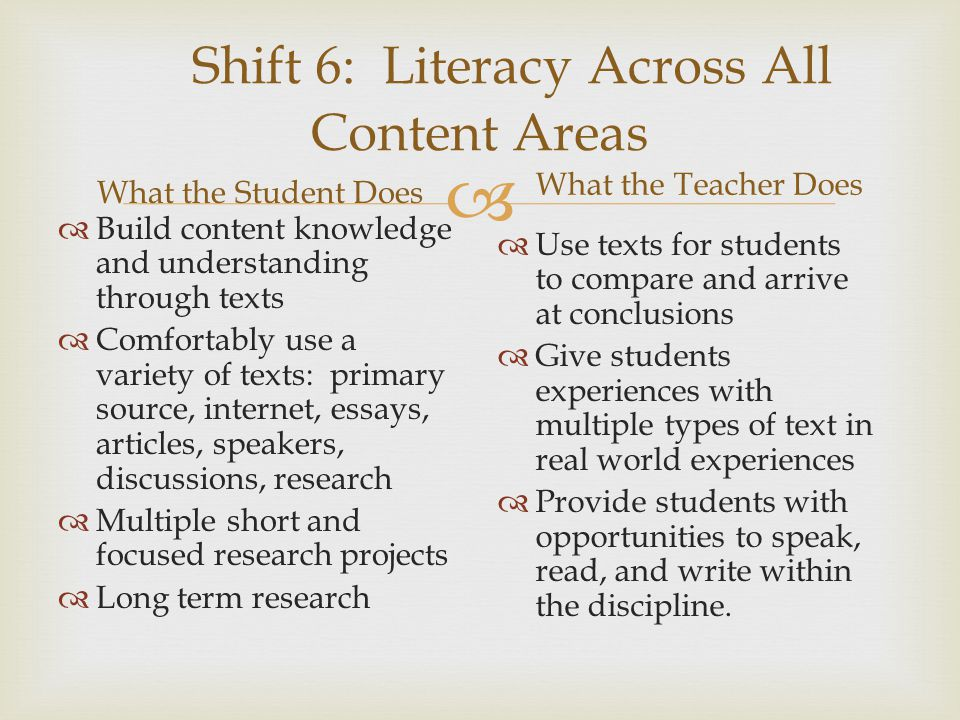 Shift 6: Literacy Across All Content Areas