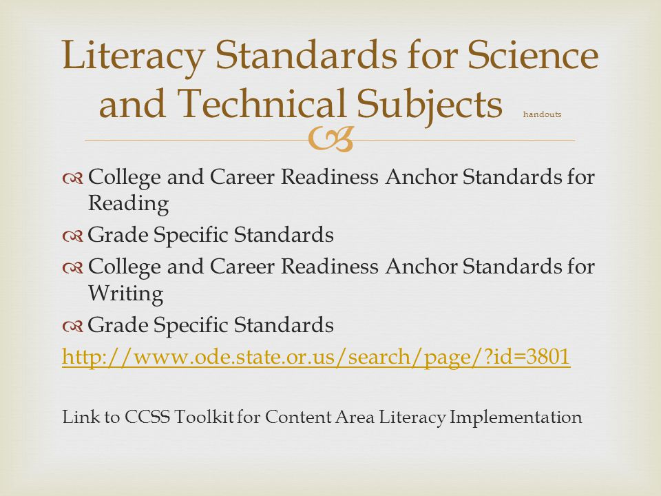 Literacy Standards for Science and Technical Subjects handouts