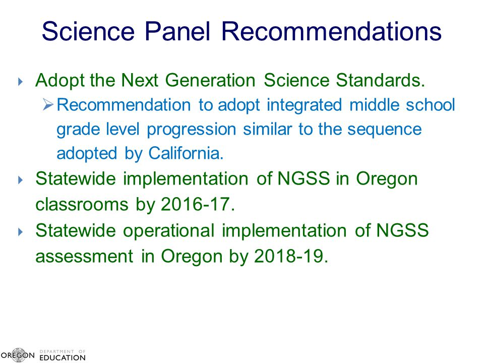 Science Panel Recommendations