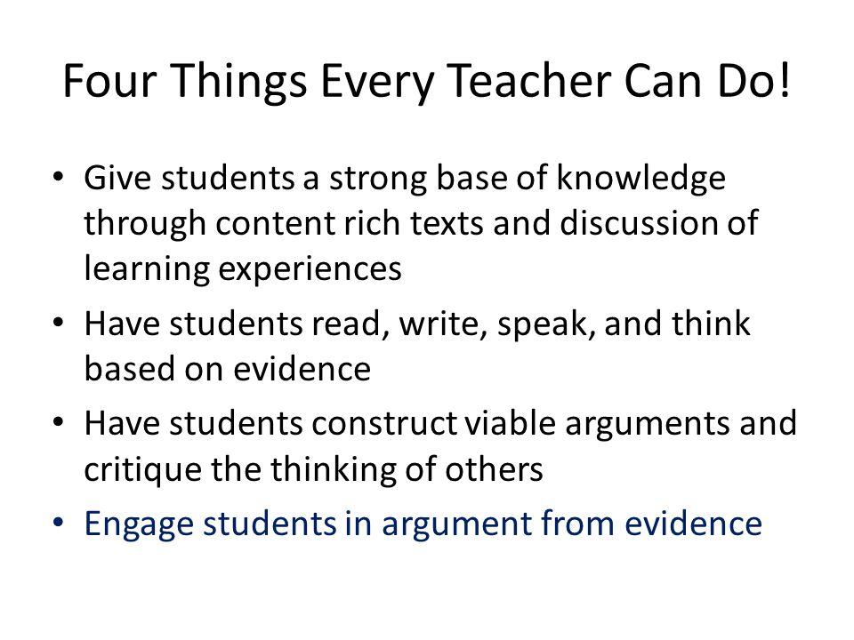 Four Things Every Teacher Can Do!