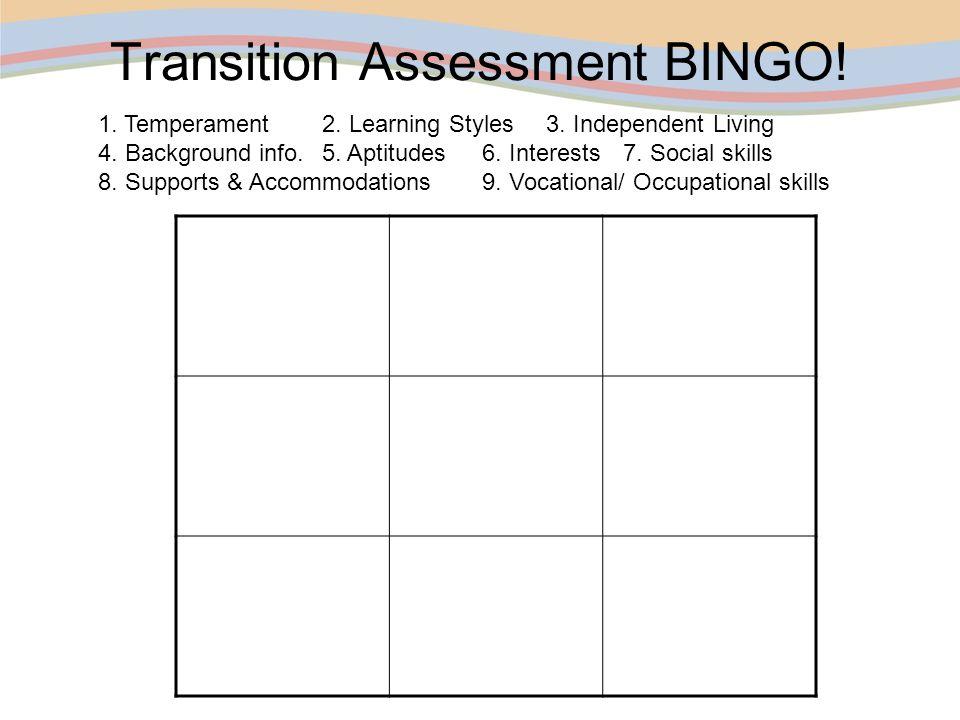 Transition Assessment BINGO!