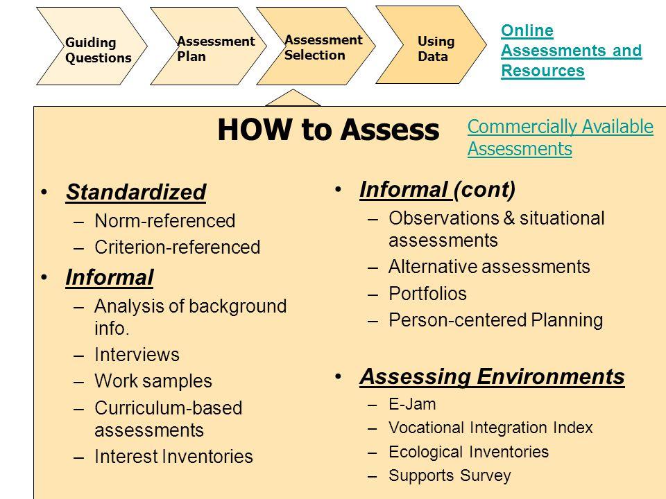 HOW to Assess Informal (cont) Standardized Informal