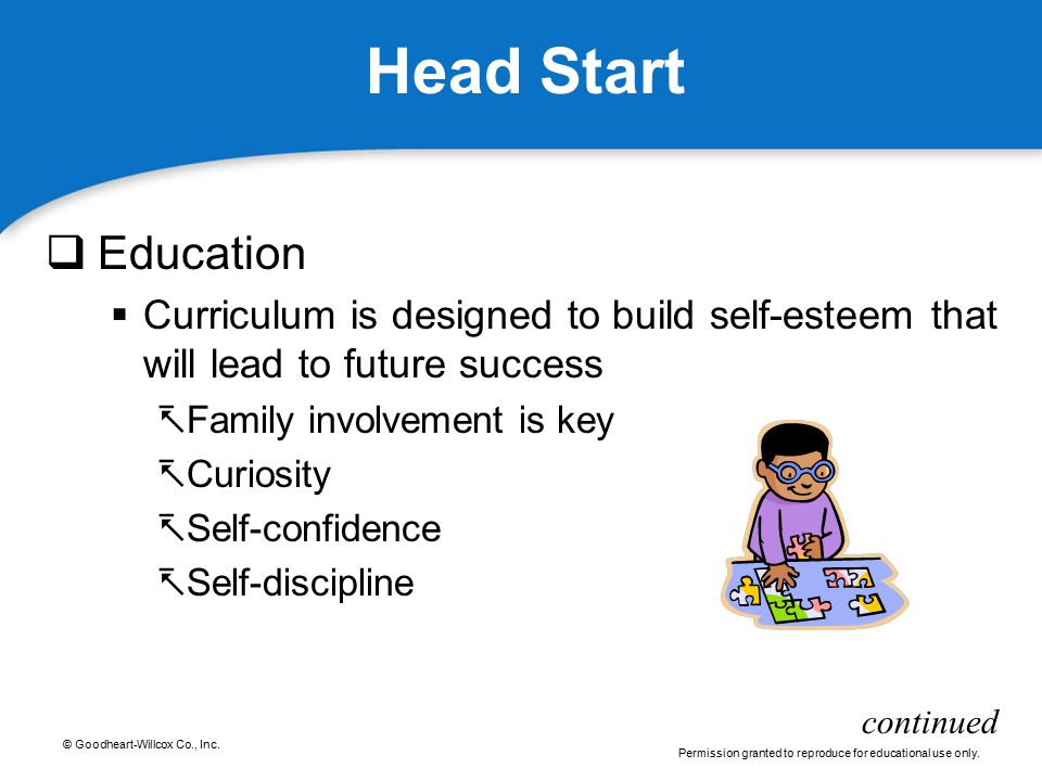 Head Start Education. Curriculum is designed to build self-esteem that will lead to future success.