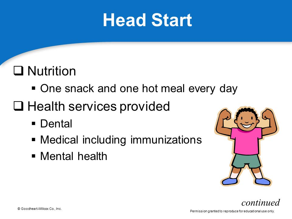 Head Start Nutrition Health services provided