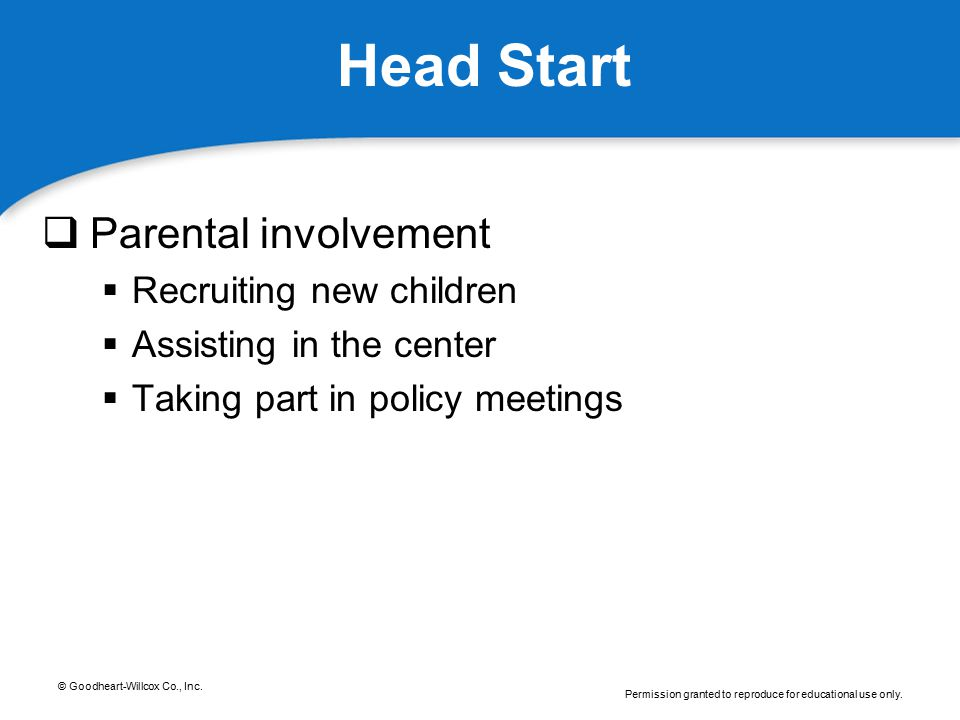 Head Start Parental involvement Recruiting new children