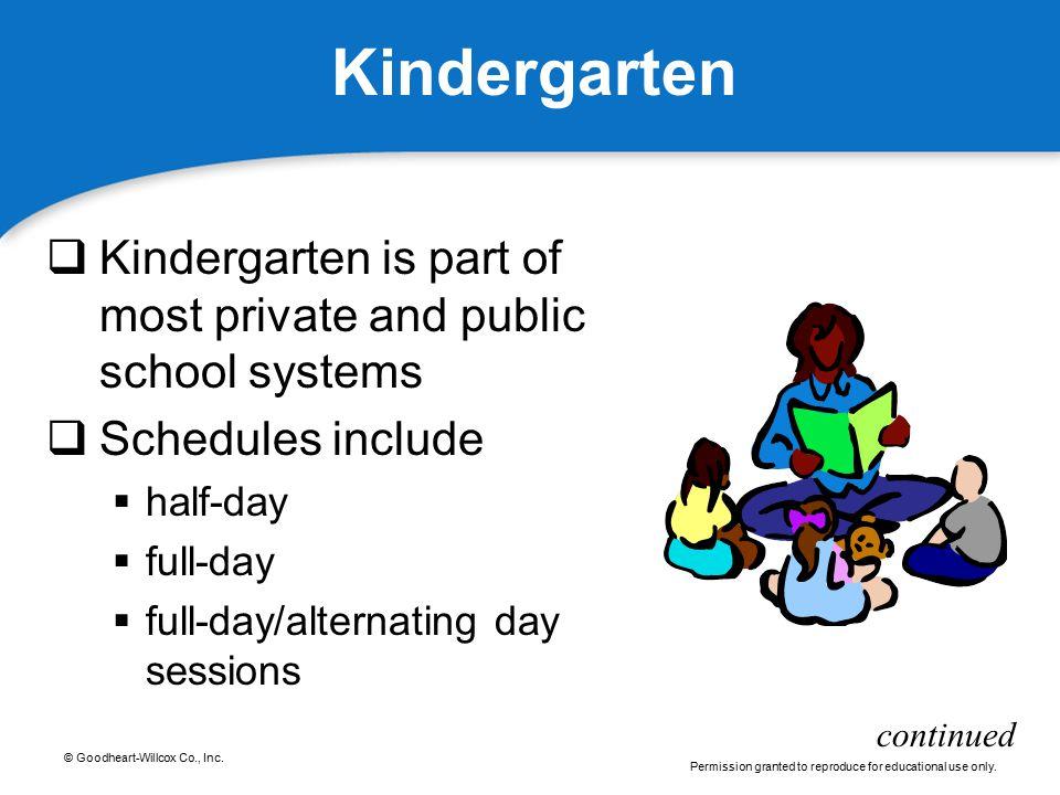 Kindergarten Kindergarten is part of most private and public school systems. Schedules include. half-day.