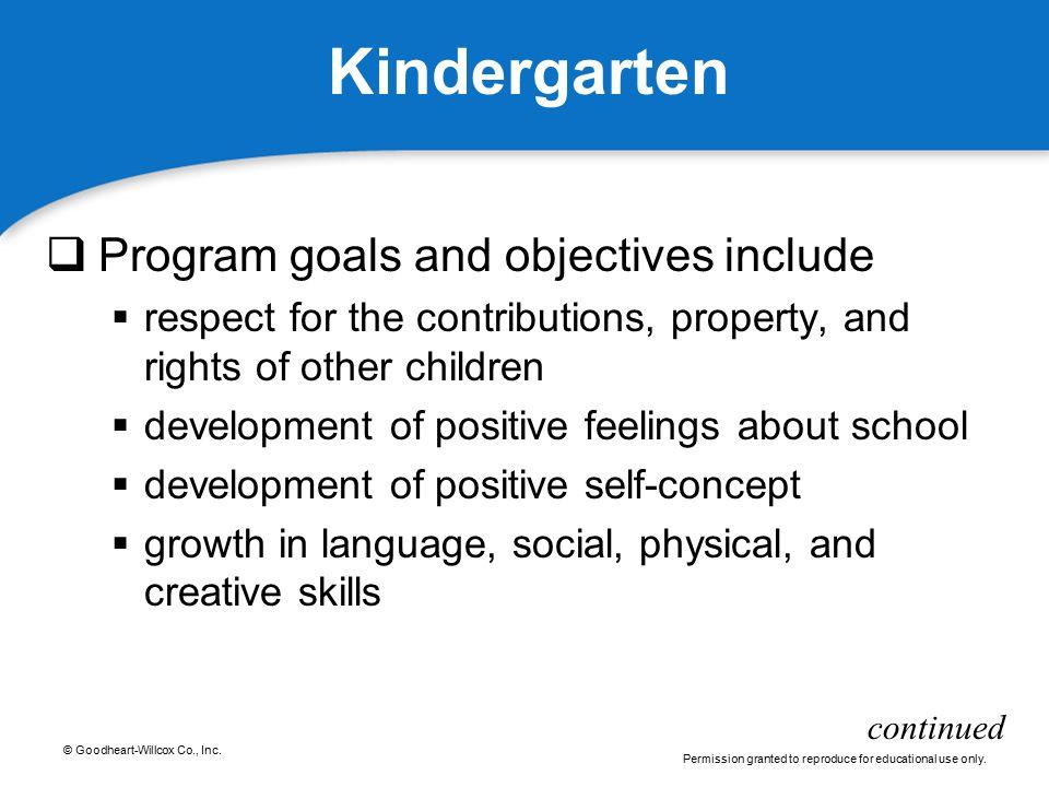Kindergarten Program goals and objectives include