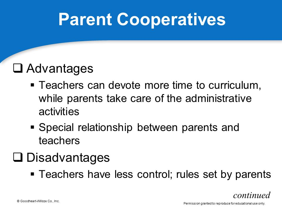 Parent Cooperatives Advantages Disadvantages