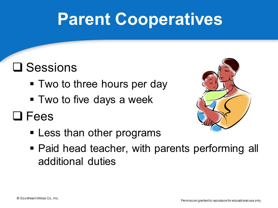 Parent Cooperatives Sessions Fees Two to three hours per day