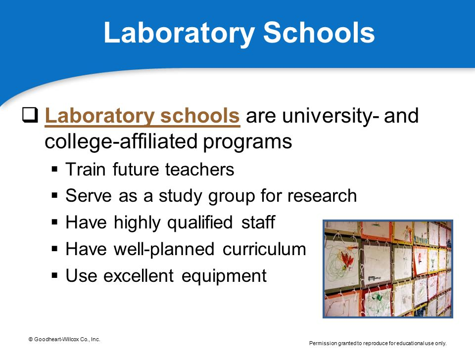Laboratory Schools Laboratory schools are university- and college-affiliated programs. Train future teachers.