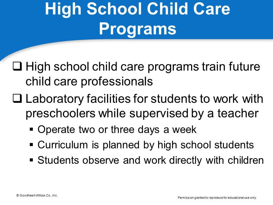 High School Child Care Programs